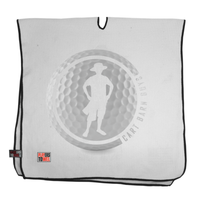 Grey Golf Ball Cart Barn Guy Player Towel