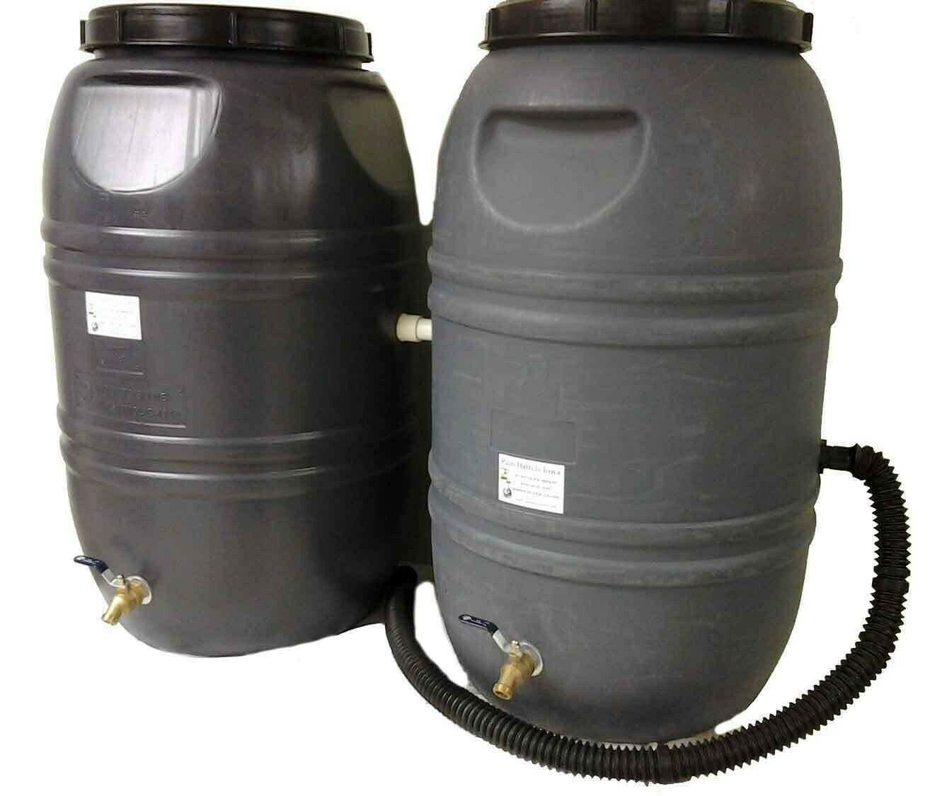 Double  Rain Barrel Combo Gray with internal overflow
