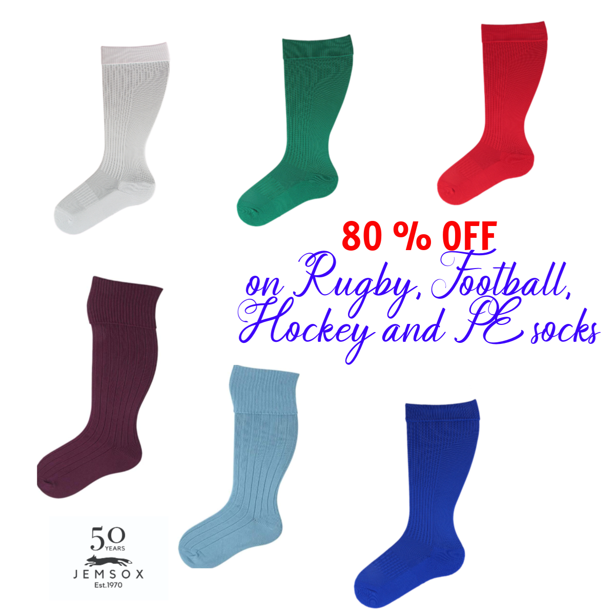 SALE : UK Made Football Rugby Hockey PE Socks - Limited Time Free Shipping