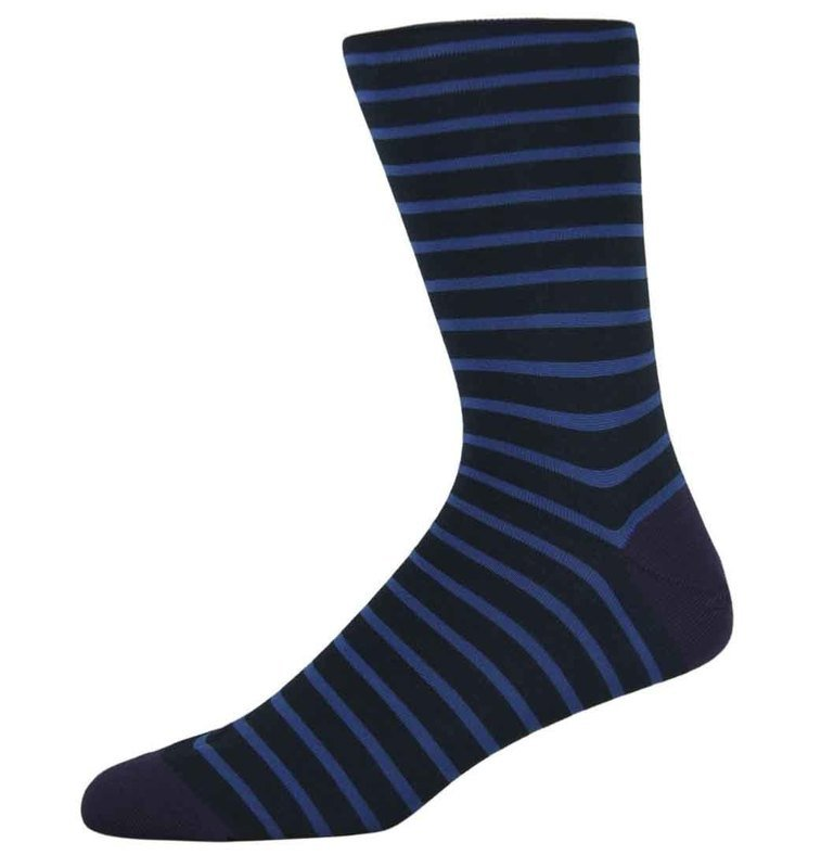 Ben Navy Striped Socks
