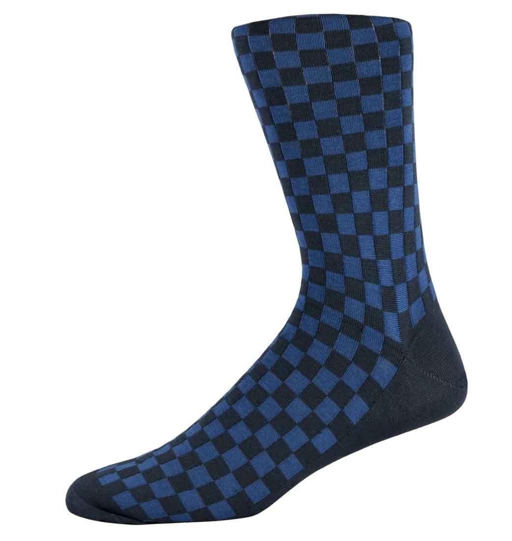 Nathan Navy checked socks