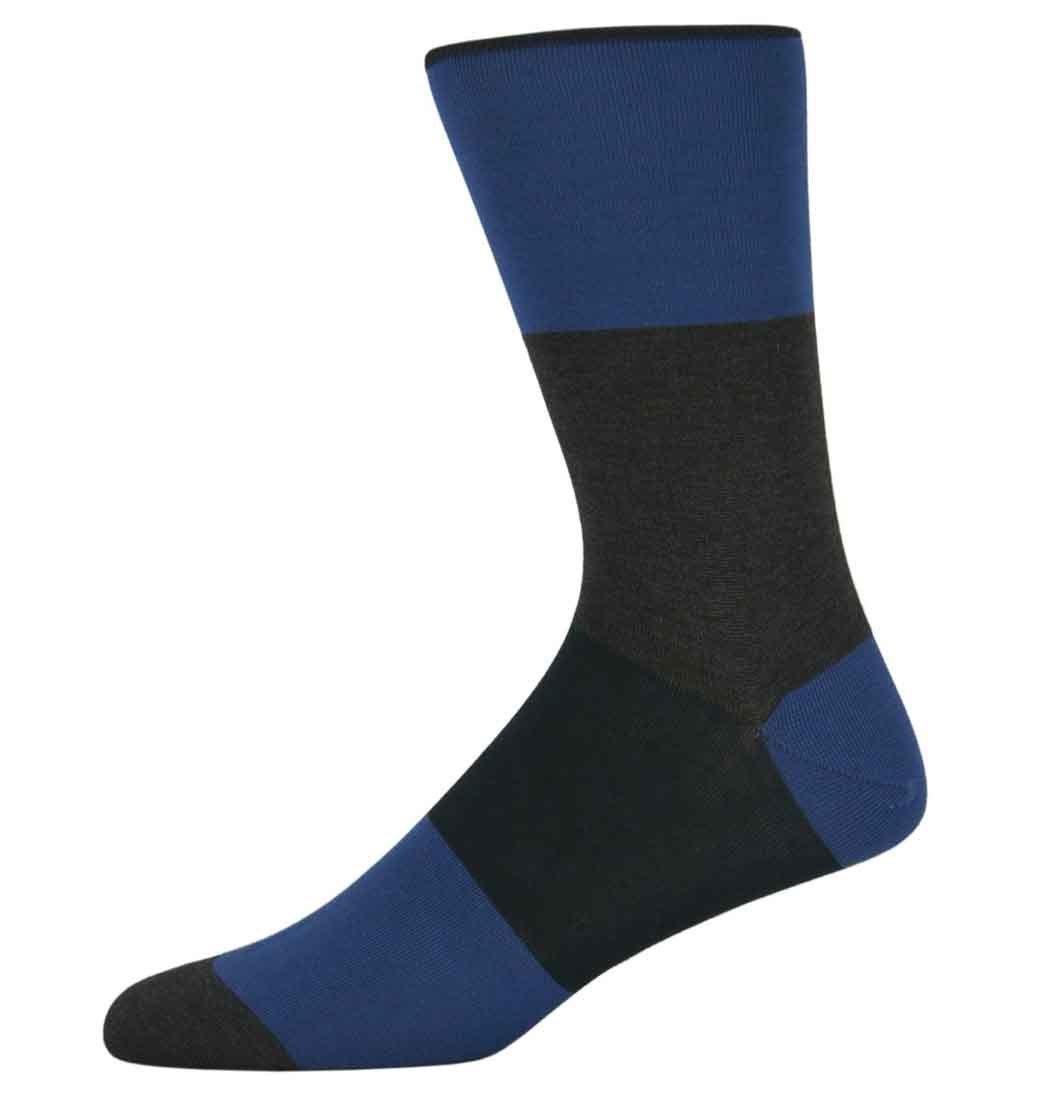 Nick Grey and Blue Block Striped Socks