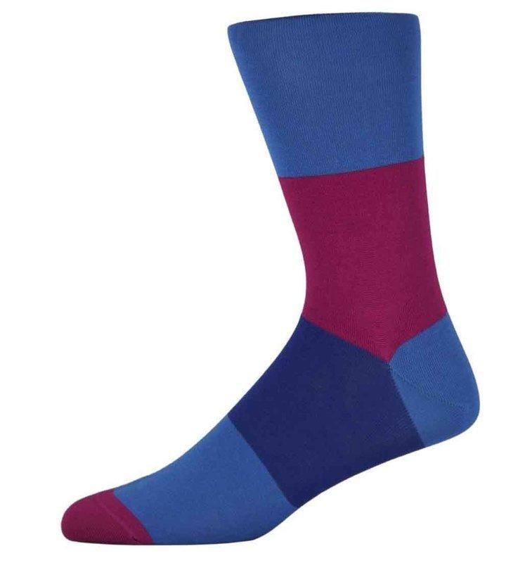 Nick Pink and Blue Block Striped Socks