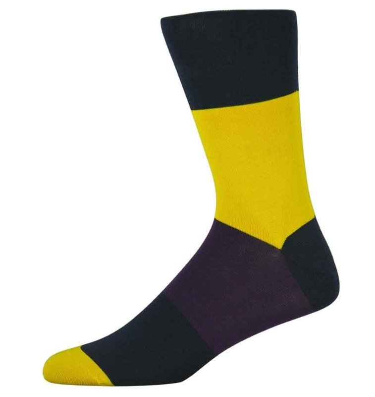 Nick Yellow and Black Block Striped Socks