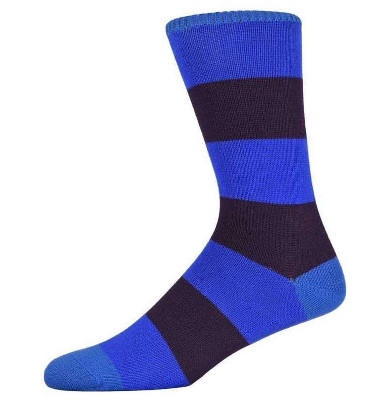 Peter Blue and Burgundy Thick Striped Socks