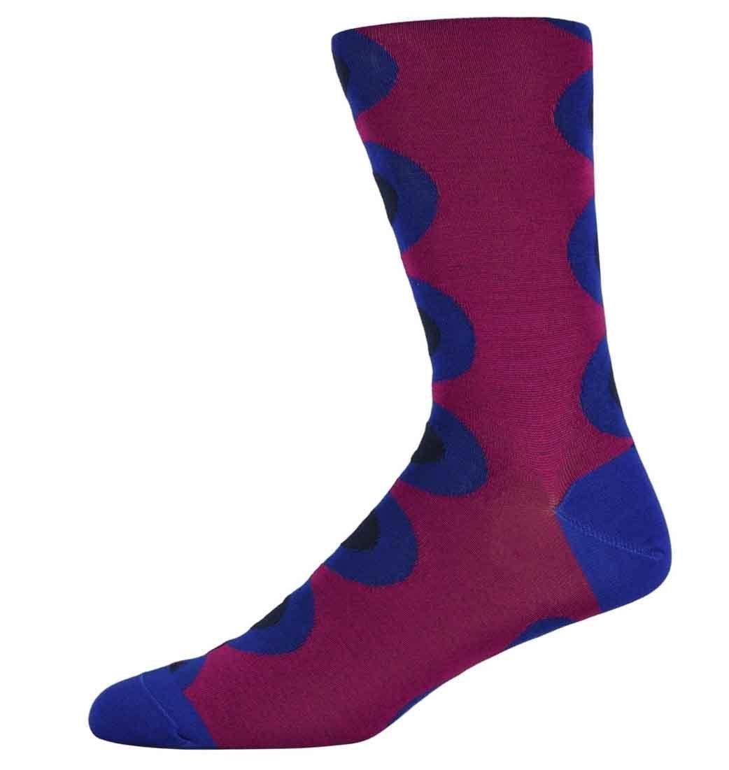 Robert Burgundy and Blue spotty socks