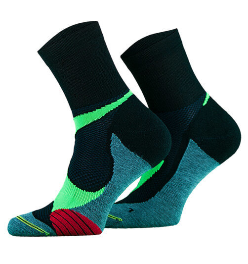 Black with Green and Turquoise Lightweight Running Socks
