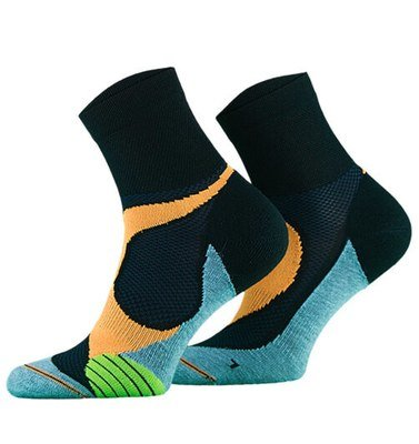 Black with Orange and Turquoise Lightweight Running Socks