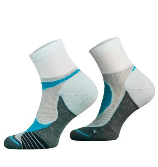White and Blue Lightweight Running Socks