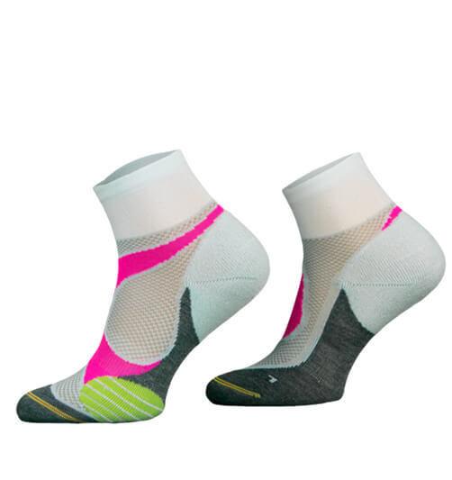 White and Pink Lightweight Running Socks