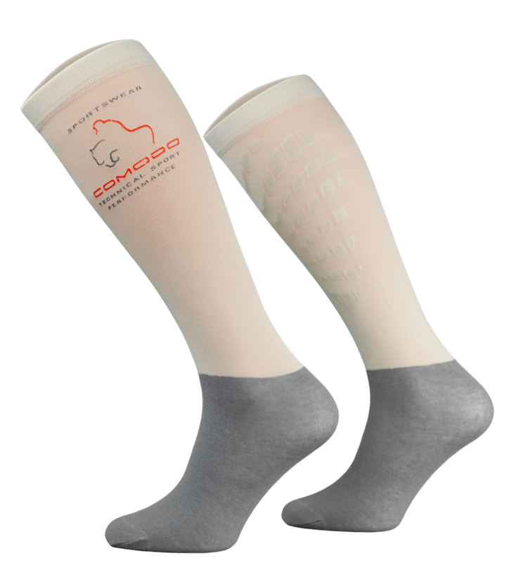 Beige and Grey Technical Riding Socks