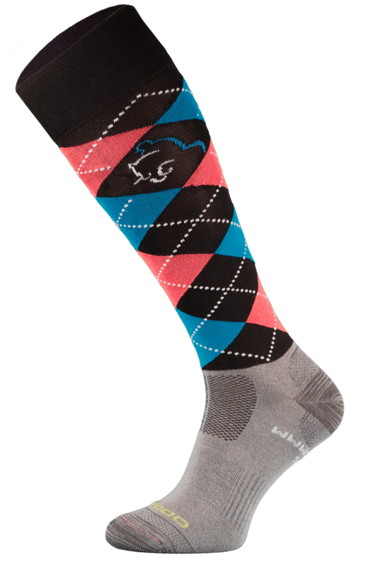 Black Argyle Lightweight Functional Riding Socks