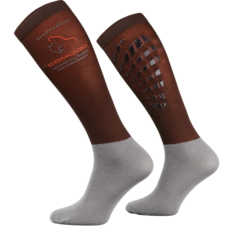 Brown and Grey Technical Riding Socks