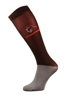 Burgundy and Grey Microfibre Horse Riding Socks