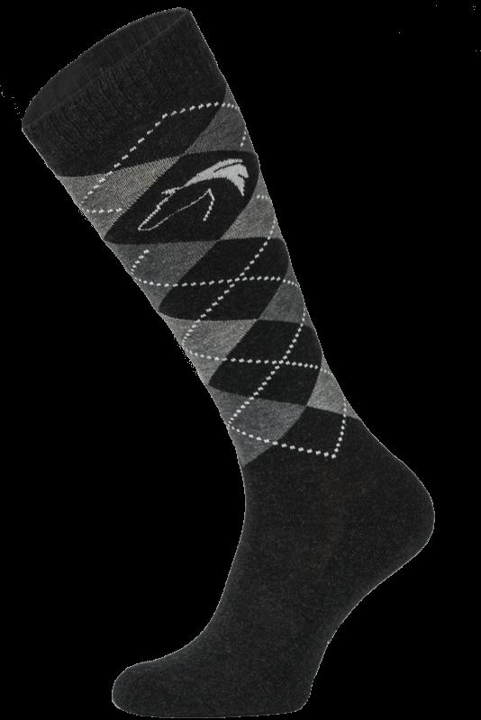 Classic Black and Grey Argyle Horse Riding Socks