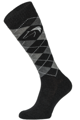 Classic Black and Grey Argyle Horse Riding Socks
