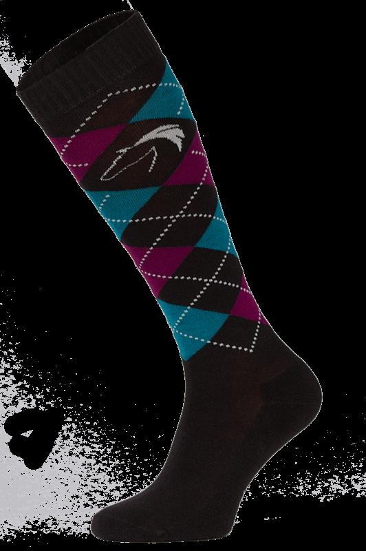 Classic Black, Blue and Burgundy Argyle Horse Riding Socks