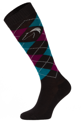 Classic Black, Blue and Burgundy Argyle Horse Riding Socks
