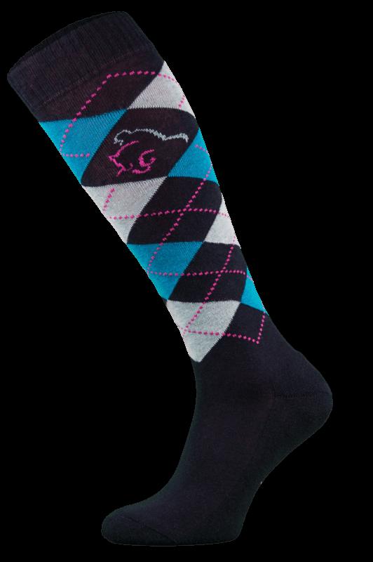 Classic Black, Blue and Pink Argyle Horse Riding Socks