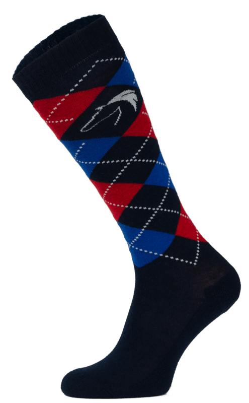 Classic Black, Blue and Red Argyle Horse Riding Socks