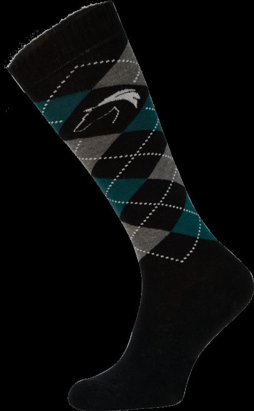 Classic Black, Grey and Green Argyle Horse Riding Socks