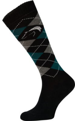Classic Black, Grey and Green Argyle Horse Riding Socks