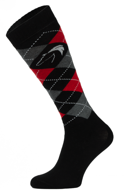 Classic Black, Red and Grey Argyle Horse Riding Socks