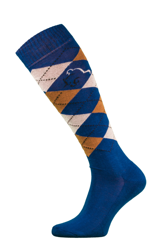 Classic Blue, Brown and Cream Argyle Horse Riding Socks