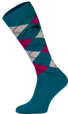 Classic Blue, Pink and White Argyle Horse Riding Socks