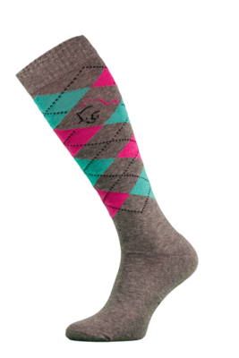 Classic Brown, Pink and Green Argyle Horse Riding Socks