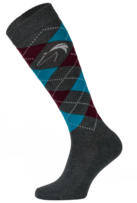 Classic Charcoal and Blue Argyle Horse Riding Socks
