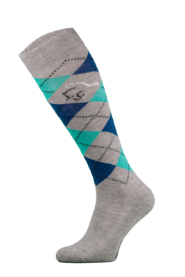 Classic Grey, Blue and Green Argyle Horse Riding Socks