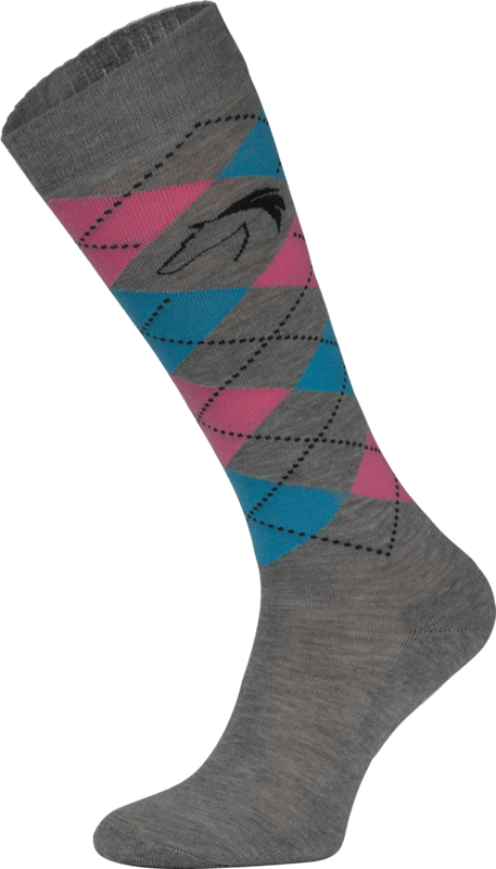 Classic Grey, Blue and Pink Argyle Horse Riding Socks