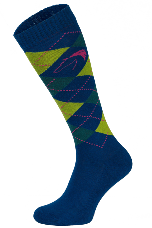 Classic Navy, Yellow and Green Argyle Horse Riding Socks