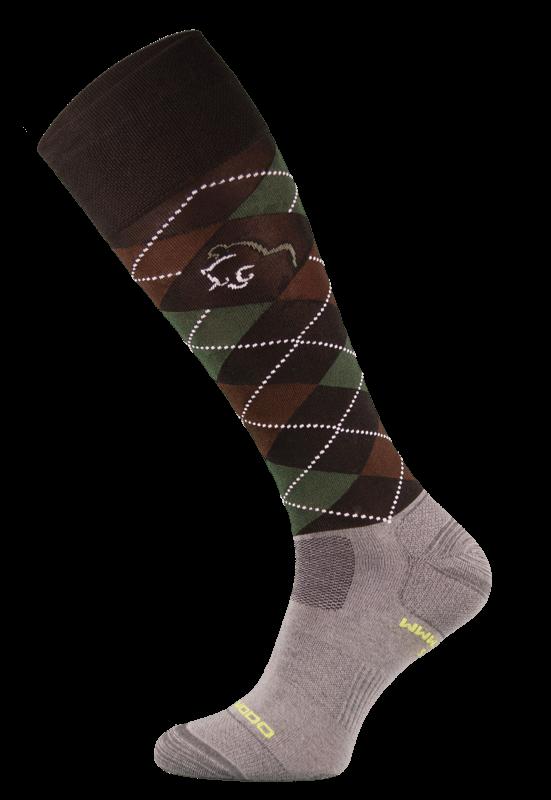 Dark Brown Argyle Lightweight Functional Riding Socks