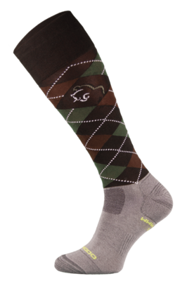 Dark Brown Argyle Lightweight Functional Riding Socks