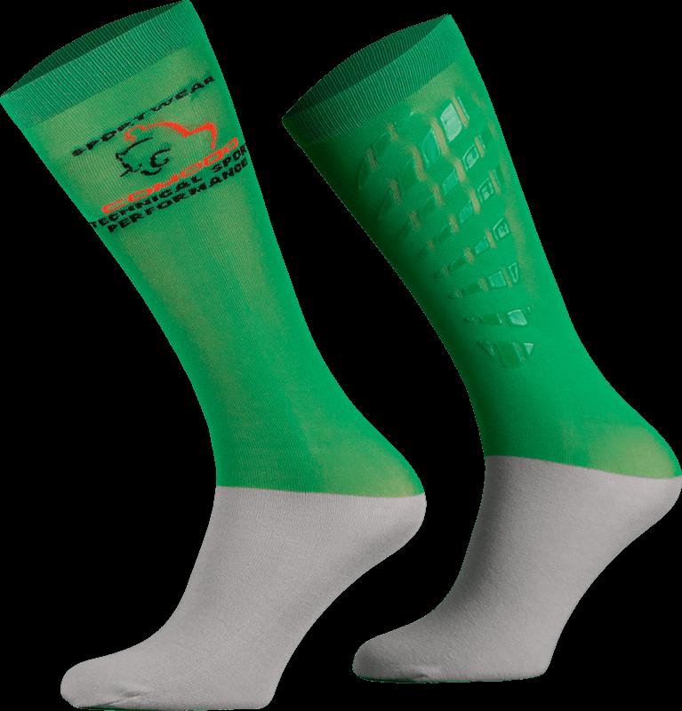 Dark Green and Grey Technical Riding Socks