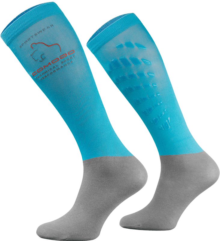 Light Blue and Grey Technical Riding Socks