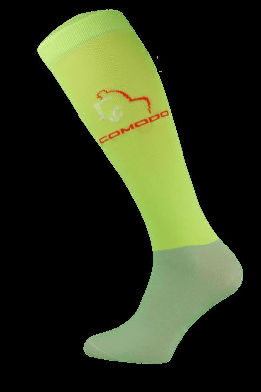 Neon Green and Grey Microfibre Riding Socks