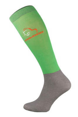 Neon Green and Grey Microfibre Riding Socks