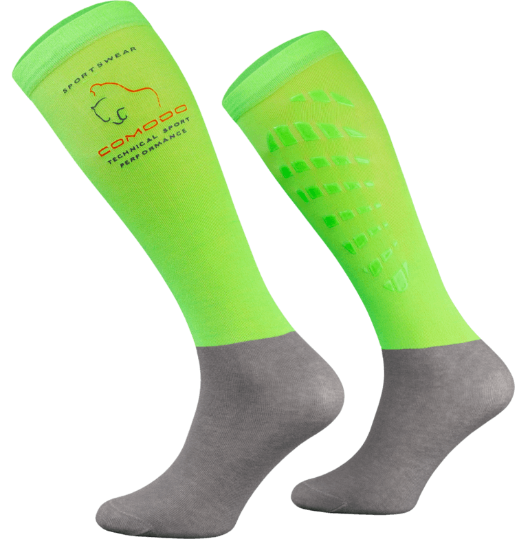 Neon Green and Grey Technical Riding Socks