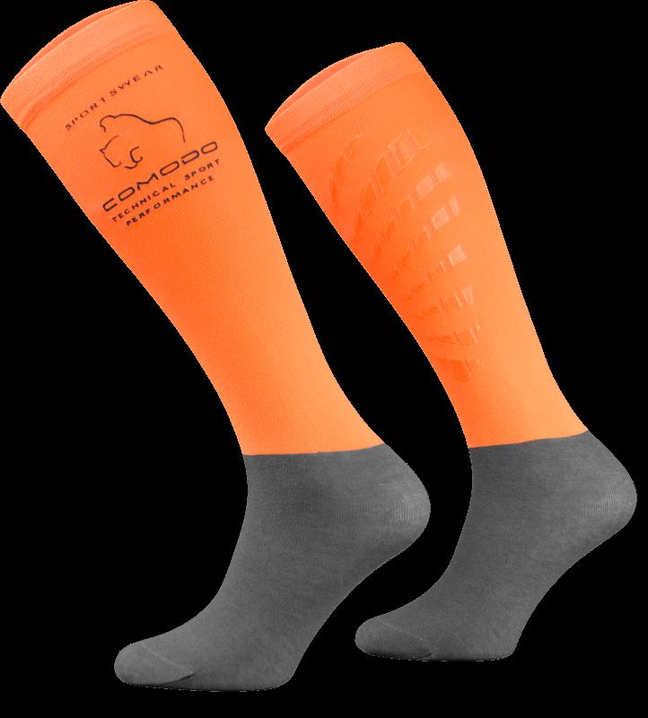 Neon Orange and Grey Technical Riding Socks