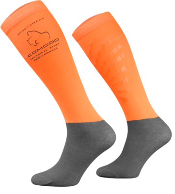 Neon Orange and Grey Technical Riding Socks