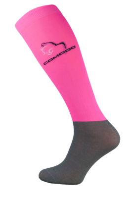 Neon Pink and Grey Microfibre Riding Socks