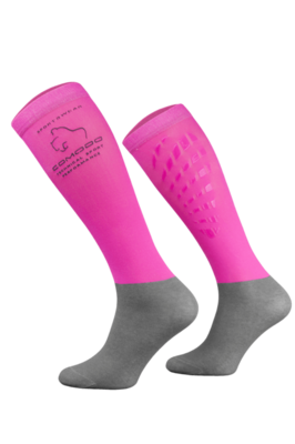 Neon Pink and Grey Technical Riding Socks