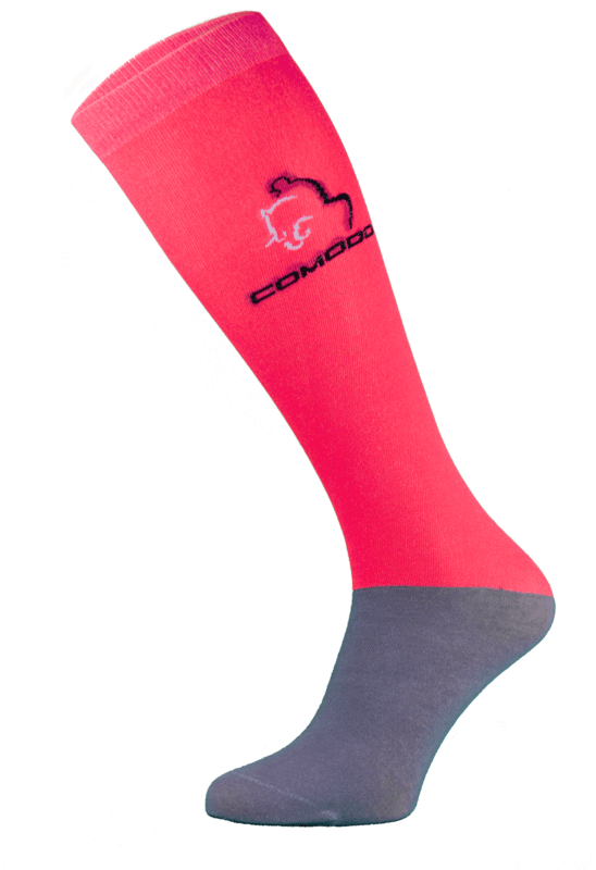 Neon Red and Grey Microfibre Riding Socks