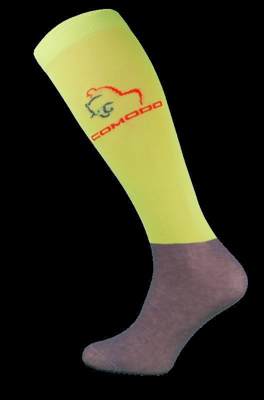Neon Yellow and Grey Microfibre Riding Socks