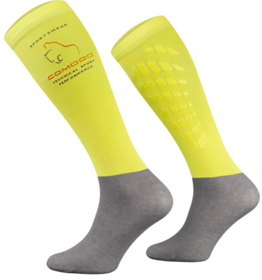 Neon Yellow and Grey Technical Riding Socks
