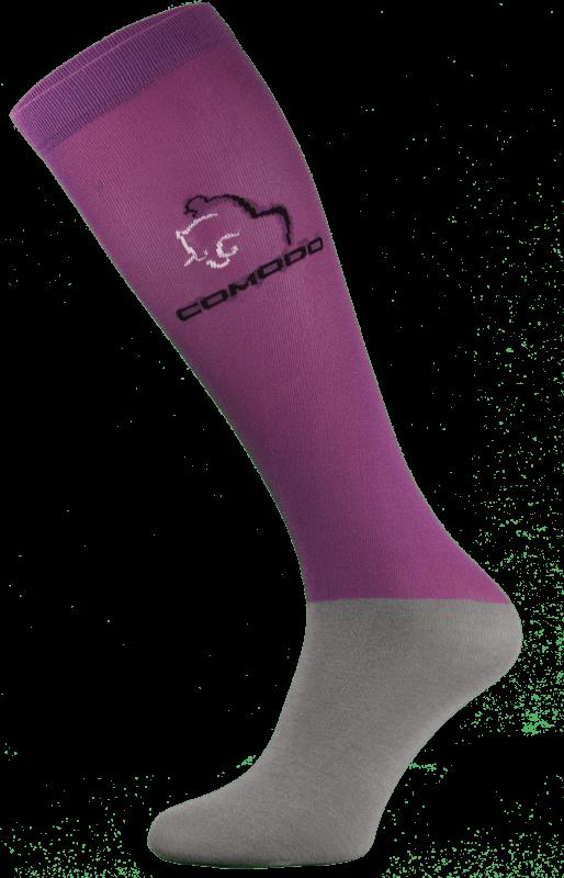 Purple and Grey Microfibre Riding Socks