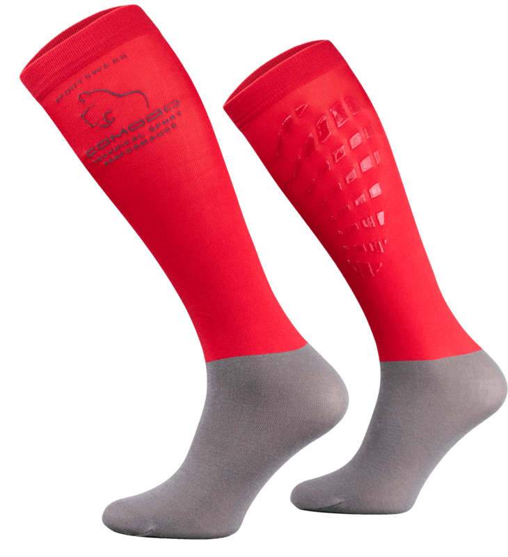 Red and Grey Technical Riding Socks